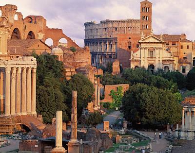 Photograph - Italy, Rome, Lazio, City At Dusk by Simeone Huber