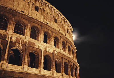 Photograph - Italy, Rome, Moon Behind Coliseum by Greg Christensen