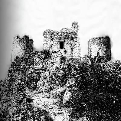 Drawing - Italy, The Castle Of Rocca Calascio - 01  by Andrea Mazzocchetti
