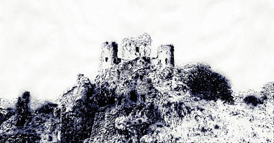 Drawing - Italy, The Castle Of Rocca Calascio - 02 by Andrea Mazzocchetti