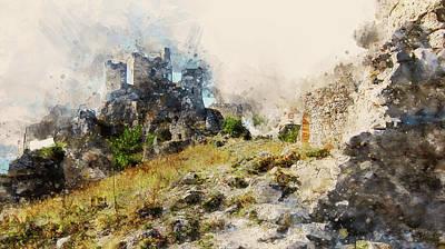 Painting -  Italy, The Castle Of Rocca Calascio - 04 by Andrea Mazzocchetti