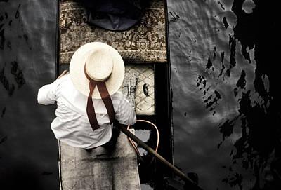 Photograph - Italy, Venice, Gondolier On Canal by John Seaton Callahan