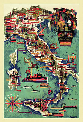 Photograph - Italy Wine Map by Andrew Fare