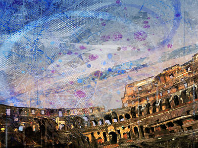 Surrealism Royalty-Free and Rights-Managed Images - Interni Colosseo Tramonto by Andrea Gatti