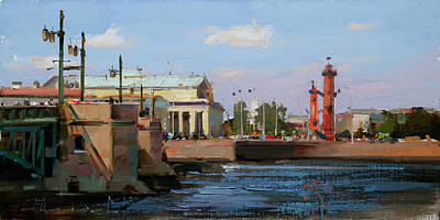 Painting - It's A Wonderful Day For A Walk. St. Petersburg, Palace Emb. by Alexey Shalaev