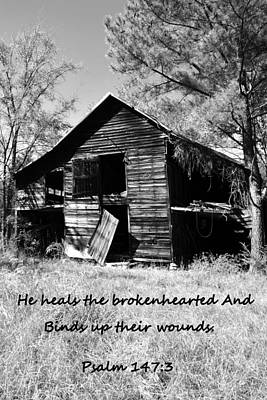 Photograph - I've Seen Better Days Psalm 147 3 Black And White by Lisa Wooten
