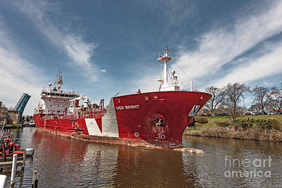 Photograph - Iver Bright Tanker On The Manistee River by Sue Smith