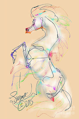 Digital Art - Ivory Horse Rising by Stacey Mayer