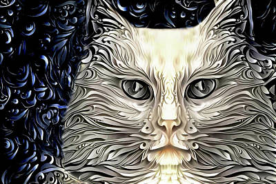 Digital Art - Ivory The Long Haired White Cat by Peggy Collins