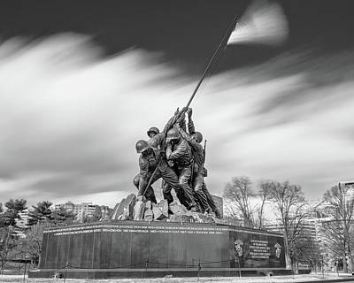 Abstract Airplane Art - Iwo Jima Marine Corps War Memorial 1 bw by Jerry Fornarotto