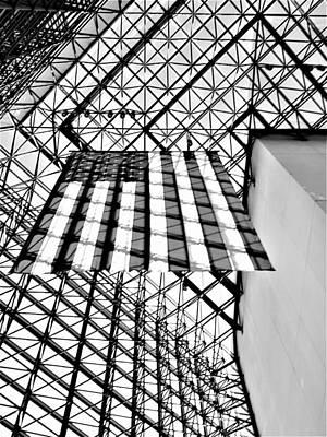 Photograph - J F K America Flag Skylight 1 B W   by Rob Hans