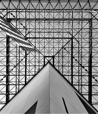 Photograph - J F K American Flag Skylight 2 B W  by Rob Hans