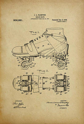 J. L. Plimpton, Roller Skate, Patented Dec.8,1908. Art Print