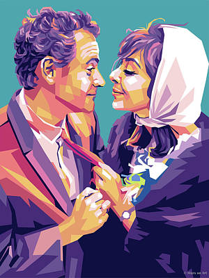 Japanese Woodblocks Hokusai - Jack Lemmon and Elaine May by Stars on Art