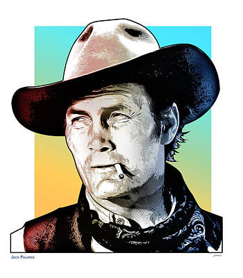 Drawings Royalty Free Images - Jack Palance Pop Art Royalty-Free Image by Greg Joens