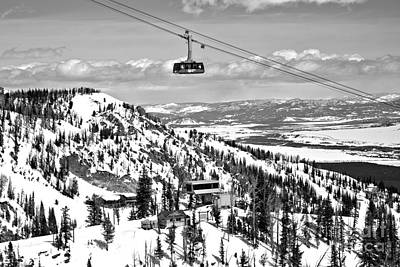 Photograph - Jackson Hole Aerial Tram Landscape Black And White by Adam Jewell