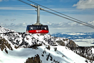 Photograph - Jackson Hole Aerial Tram Over The Snow Caps by Adam Jewell
