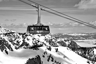 Photograph - Jackson Hole Aerial Tram Over The Snow Caps Black And White by Adam Jewell