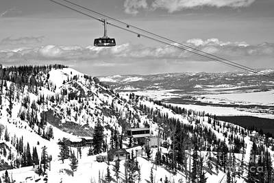 Photograph - Jackson Hole Big Red Tram In The Tetons Black And White by Adam Jewell