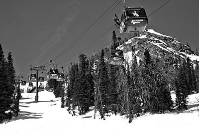 Photograph - Jackson Hole Bridger Gondola Black And White by Adam Jewell