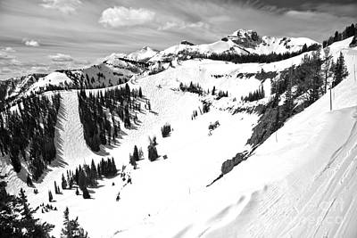 Photograph - Jackson Hole Mogul Chutes Black And White by Adam Jewell