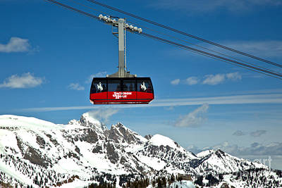 Photograph - Jackson Hole Tram Over The Snow Caps by Adam Jewell