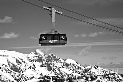 Photograph - Jackson Hole Tram Over The Snow Caps Black And White by Adam Jewell