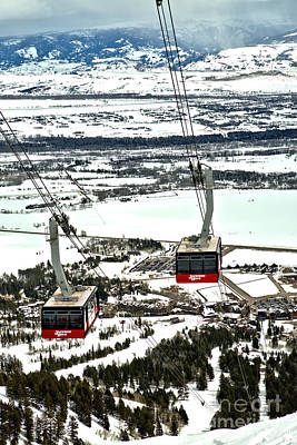 Photograph - Jackson Hole Twin Trams by Adam Jewell