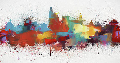 Painting - Jackson Mississippi Colorful Skyline by Dan Sproul