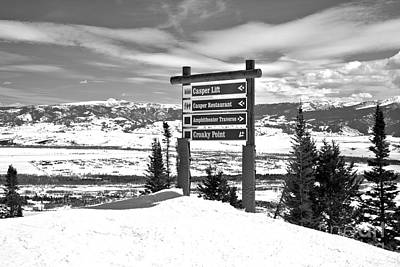 Photograph - Jackson Ski Slope Directions Black And White by Adam Jewell