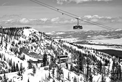 Photograph - Jackson Ski Tram In The Sky Black And White by Adam Jewell