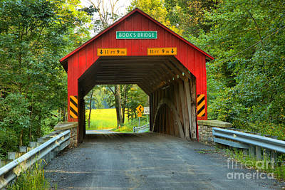 Photograph - Jackson Township Books Covered Bridge by Adam Jewell