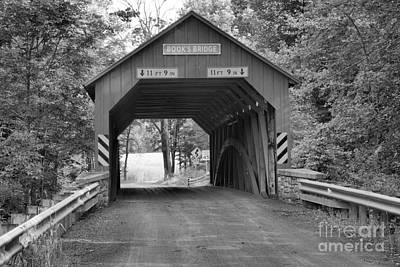 Photograph - Jackson Township Books Covered Bridge Black And White by Adam Jewell