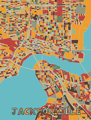 Royalty-Free and Rights-Managed Images - Jacksonville Map Retro by Bekim M