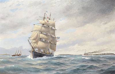Painting - Jacob Hagg 1839-1931 Ship At Slite Harbor by Jacob Hagg