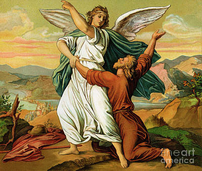 Photograph - Jacob Wrestiling With The Angel  by English School