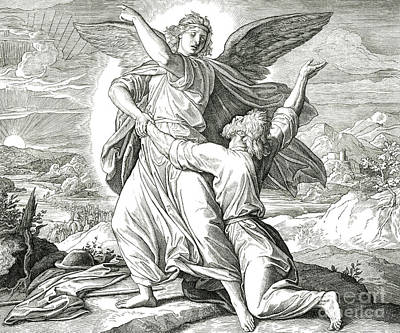 Drawing - Jacob Wrestles The Angel Of The Lord by Julius Schnorr von Carolsfeld