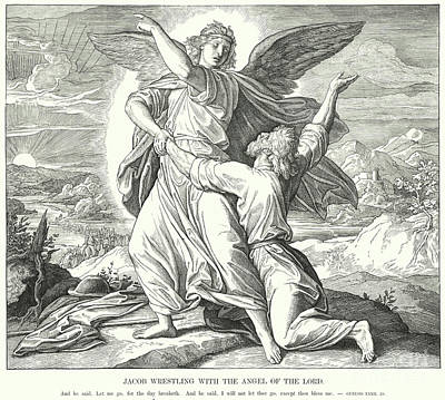 Drawing - Jacob Wrestling With The Angel Of The Lord  by Julius Schnorr von Carolsfeld