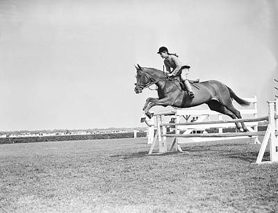 Photograph - Jacqueline Bouvier On Her Horse by Bert Morgan