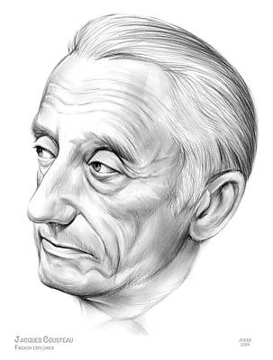 Jacob Kuch Vintage Art On Dictionary Paper - Jacques-Yves Cousteau by Greg Joens