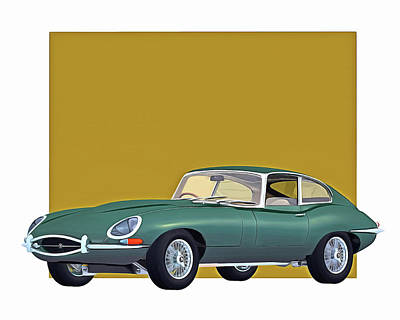 Digital Art - Jaguar E Type 1960 by Jan Keteleer