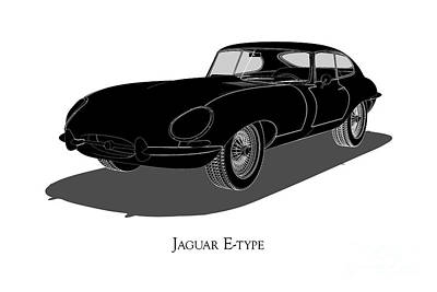 Digital Art - Jaguar E-type - Front View by David Marchal