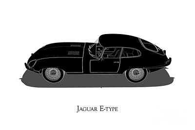 Digital Art - Jaguar E-type - Side View by David Marchal