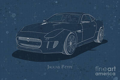 Digital Art - Jaguar F-type - Front View - Stained Blueprint by David Marchal