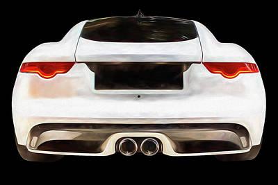 Going Green - Jaguar F Type Rear Digital Painting by Rick Deacon
