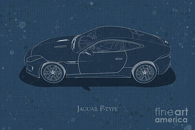 Digital Art - Jaguar F-type - Side View - Stained Blueprint by David Marchal