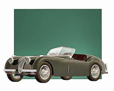 Digital Art - Jaguar Xk120 1951 by Jan Keteleer