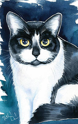 Painting - Jake - Tuxedo Cat Painting by Dora Hathazi Mendes