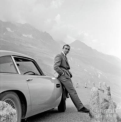 Celebrities Royalty-Free and Rights-Managed Images - James Bond Coolly Leaning on His Aston Martin  by Doc Braham