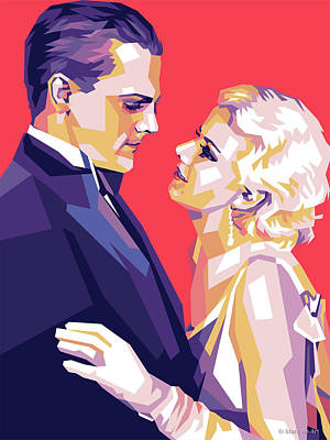 Vintage Diner Cars - James Cagney and Jean Harlow by Stars on Art
